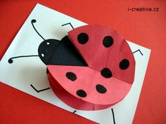 Beruška skládaná z papíru | i-creative.cz - Kreativní online magazín a omalovánky k vytisknutí Bug Crafts, Kids Crafts, Crafts To Make, Spring Crafts, Art For Kids, Activities For Kids, Preschool, Playing Cards, Nursery