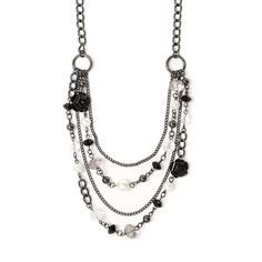 Crystals, Pearls and Black Carved Roses Multi-Strand Necklace | Claire's
