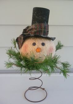 primitive snowman | Primitive snowman nodder makedo tree topper by ahlcoopedup on Etsy
