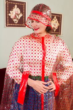 Vintage 1960s Raincoat Clear Vinyl with Red Polka Dots by FabGabs