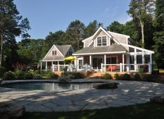 Martha's Vineyard vacation rental. Sleeps 7. Quiet and quaint, this home sits on a beautifully landscaped yard and overlooks a freshwater pond. Sleeps 7 with 3 bedrooms in the main house and one guest room over the garage, with it's own private bathroom. Gorgeous in-ground pool in back of the main house.