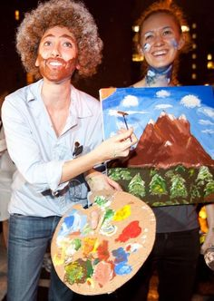 I'm sorry, but the main reasons why this costume is so hilarious to me is the sloppy beard and moustache... also, BOB ROSS IS STILL THAT SHIT.