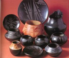 Beautiful Maria Martinez blackware pottery, San Ildefonso Pueblo
