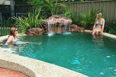 Universal Rocks swimming pool waterfall kits are a great way to get a professional looking waterfall with out the professional cost and mess. Order your swimming pool waterfall kit online today! Swimming Pool Waterfall, Swimming Pools Backyard, Swimming Pool Designs, Rock Waterfall, Waterfall Design, Waterfall Fountain, Girls Swimming, Pool Spa, Diy Pool
