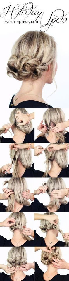 holiday updo Tutorial / http://www.himisspuff.com/easy-diy-braided-hairstyles-tutorials/80/
