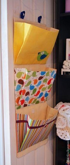 """Купить Кармашки """"Птички"""" в детский сад - жёлтый, кармашки в садик, кармашки в детскую, кармашки для мелочей"""