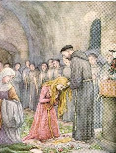 St Francis investing St Clare in the Franciscan habit