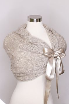 Perfect for wedding gowns, special event dresses, wedding party dresses, Bridal shower gift and accessories custom make knit shawl for you for your wedding day or any upcoming occasion Color shown on the picture #13- Oatmeal  Material %10 Mohair %90 Acrylic Lightweight and very soft, not itchy. This shawl fastens with ribbon and ties into a bow. SIZE CHART  XS ► US >2 ♥♥♥♥ UK > 4 ♥♥♥♥ EU > 32 S ► US >4 ♥♥♥♥ UK > 6 ♥♥♥♥ EU > 34 S ► US >6 ♥♥♥♥ UK > 8 ♥♥♥♥ EU > 36 M ► ...