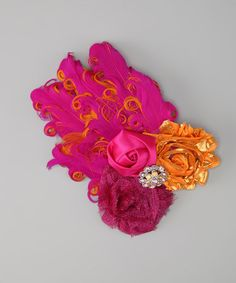 Take a look at this Hot Pink & Orange Satin Flower Feather Headpiece by Overcash on #zulily today!