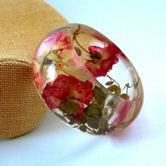 Pink and Yellow Roses in a Chunky Resin Cuff