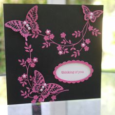 Black Cardstock with Pink embossing, Melon Mambo, Hopeful Thoughts (Thoughts and Prayers), Papillion Potpourri, Teeny Tiny Sentiments, Butterfly Punch