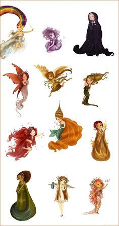 The twelve chibi goddesses left... by Arbetta.deviantart.com on @deviantART