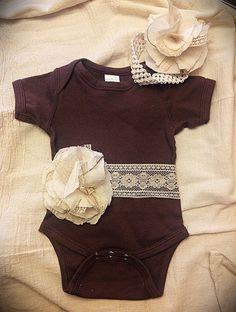 Baby Onesie with Vintage Lace by debbie.rose.37