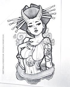 Head Tattoos, Girl Tattoos, Sleeve Tattoos, Asian Tattoos, Black Tattoos, Tattoo Sketches, Tattoo Drawings, Japanese Girl Tattoo, Blackwork