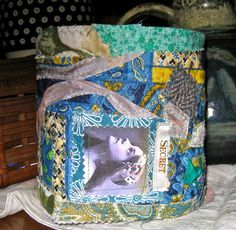 Quilted fabric  box quilted photo transfer by pinksewingroom, $25.00