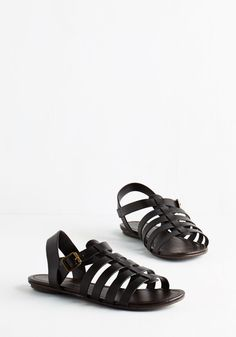 Just My Nature Sandal in Black. You always step instinctively into in these black sandals when heading out for a day amidst fresh air and sunny skies! #black #modcloth
