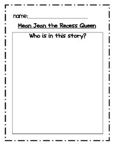 Mean Jean the Recess Queen Reader Response (differentiated