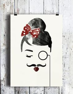 Pouting Lady with Moustache and Monocle