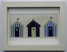 Three blue appliqued beach huts in a box frame. by smiffysmalls, £22.00