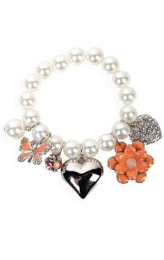 charm bracelet with heart and flower charms. I would add a cross though
