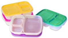 """EasyLunchboxes 3-compartment Bento Lunch Box Containers """"BRIGHTS"""" (Set of 4). BPA-Free. Easy-Open Lids (Not Leakproof): Kitchen & Dining: Amazon.com"""