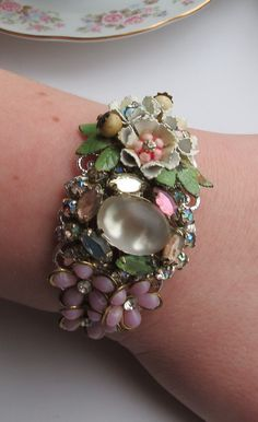 Vintage Repurposed Collage Cuff Bracelet Shabby by LucysRedRose