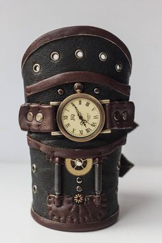Leather steampunk wrist watch, Steampunk wristband, Steampunk cuff, leather steampunk braceletwith watch for cosplay Studded Leather Armor, Leather Cuffs, Steam Punk, Steampunk Cosplay, Old Watches, Leather Wristbands, Black And Brown, Unique Jewelry, Rustic Art