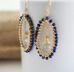 Lapis Dangle Earrings Lapis and Gold Earrings Wire by Jewels2Luv, $75.50