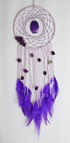 Lavender Purple Dream Catcher with an Agate Pendant, Violet Flowers, Glass Czech Beads, and Feathers
