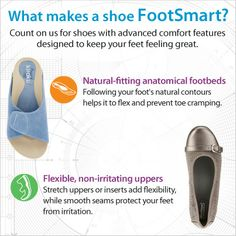 What puts the SMART in FootSmart?Following your foot's natural contours with natural-fitting anatomical footbeds helps it to flex and prevent toe cramping. Stretch uppers or inserts add flexibility, while smooth seams protect your feet from irritation. Shop the shoes below - Exclusively sold at FootSmart!! Kiraku Saori (Item No. 78570) & FootSmart Stretchables Laura (Item No. 75098)