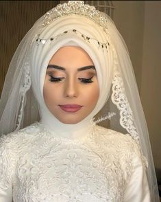 Muslim Wedding Gown, Hijabi Wedding, Muslimah Wedding Dress, Muslim Wedding Dresses, Wedding Gowns, Makeup Hijab, Bridal Hijab Styles, Braided Hairstyles, Wedding Hairstyles