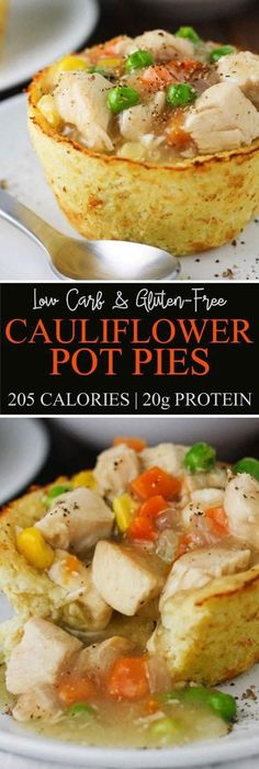 Enjoy the flavors or a comforting chicken pot pie in low carb form! Made with cauliflower, these Low Carb Cauliflower Pot Pies are guilt free and highly delicious! #vegan #glutenfree #refinedsugarfree