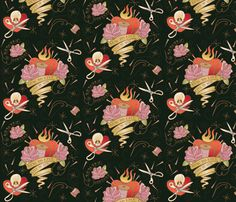 Sewing Forever Tattoo fabric by cynthiafrenette on Spoonflower - custom fabric