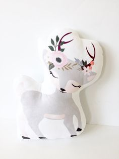 Gray Deer Plushie with a sweet flower crown