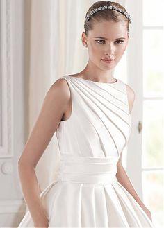 Elegant Satin Bateau Neckline Natural Waistline Ball Gown Wedding Dress
