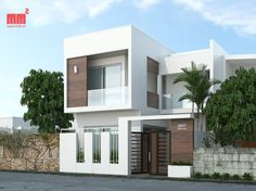 Modern Exterior House Designs, Modern House Facades, Modern House Design, Villa Design, Facade Design, Minimalist House Design, Minimalist Home, Home Outer Design, Indian House Plans