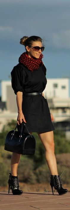 Black dress & Statement booties