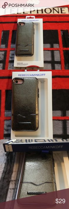 NWT Rebecca Minkoff case for IPhone 7 or 6s New in original box never used, brushed gunmetal metallic case says for IPhone 7 but I tried my IPhone 6s & it fits perfectly, all buttons work & camera. Rebecca Minkoff Accessories Phone Cases