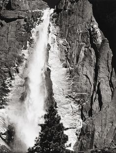 Upper Yosemite Falls, Spring  photo by Ansel Adams, 1940s