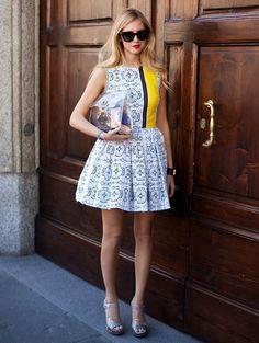 Chiara in a cute dress. Prints in street style.
