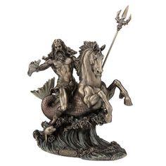 """10.5"""" Poseidon God of the Sea on Hippocampus Greek Mythology Figurine Figure"""
