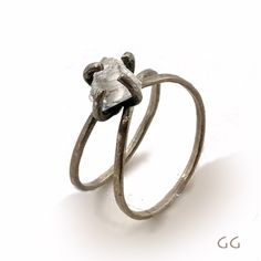 handmade diamond, sterling silver ring // organic