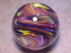 """Sam Hogue 1.80""""  Marble Signed: """"Sam Hogue 10"""" Dichoric Swirl (Y-Marb7)...looks like it came from space...cc!"""