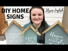 DIY Home shaped Sign! Step by step how to create the perfect home wood sign! Join me as I journey through growing and operating my handmade dream! Wood Signs For Home, Diy Wood Signs, Home Signs, Pallet Signs, Wood Block Crafts, Scrap Wood Projects, Scrap Wood Crafts, Wood Blocks, Decoupage