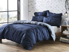 Simple and contemporary, the Veneto Blue linen quilt cover features complementary front and reverse hues for a fully reversible and versatile quilt cover. Woven using the finest French flax, Veneto is pre-washed for a beautiful softness and relaxed look. Navy Blue Bedding, Blue Comforter, Boys Bedroom Decor, Blue Bedroom, Bedroom Ideas, Master Bedroom, Bedroom Stuff, Cozy Bedroom, Bedroom Inspo