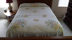 Vintage Chenille Bedspread Floral Bouquet Design Yellow Polka Dot Shabby