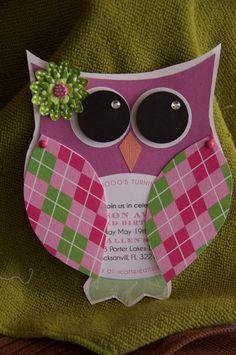 "This card has ""Jen/CEG"" all over it!  Owl & argyle!"