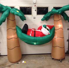 SANTA IN HAMMOCK PALM TREE'S VACATION Christmas Airblown Inflatable Yard Decor