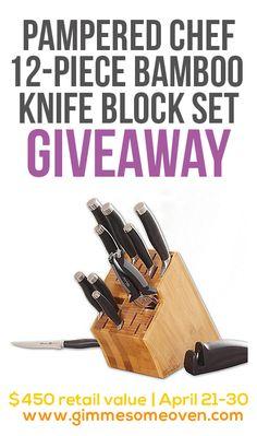 Pampered Chef $450 Knife Block Set #GIVEAWAY | gimmesomeoven.com