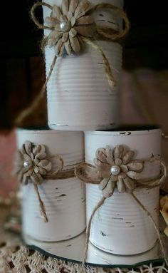 Shabby Chic Painted White Tin Can Jute Paper Flower Pearl Rustic Country Wedding Centerpieces Home Decor Gift READY TO SHIP In Stock Description: This is for one can. Handpainted white distressed shabby chic tin cans. Perfect to plant seedlings, pencils, Rustic Table Centerpieces, Country Wedding Centerpieces, Country Barn Weddings, Shower Centerpieces, Centerpiece Decorations, Wedding Rustic, Wedding Country, Trendy Wedding, Wedding Simple